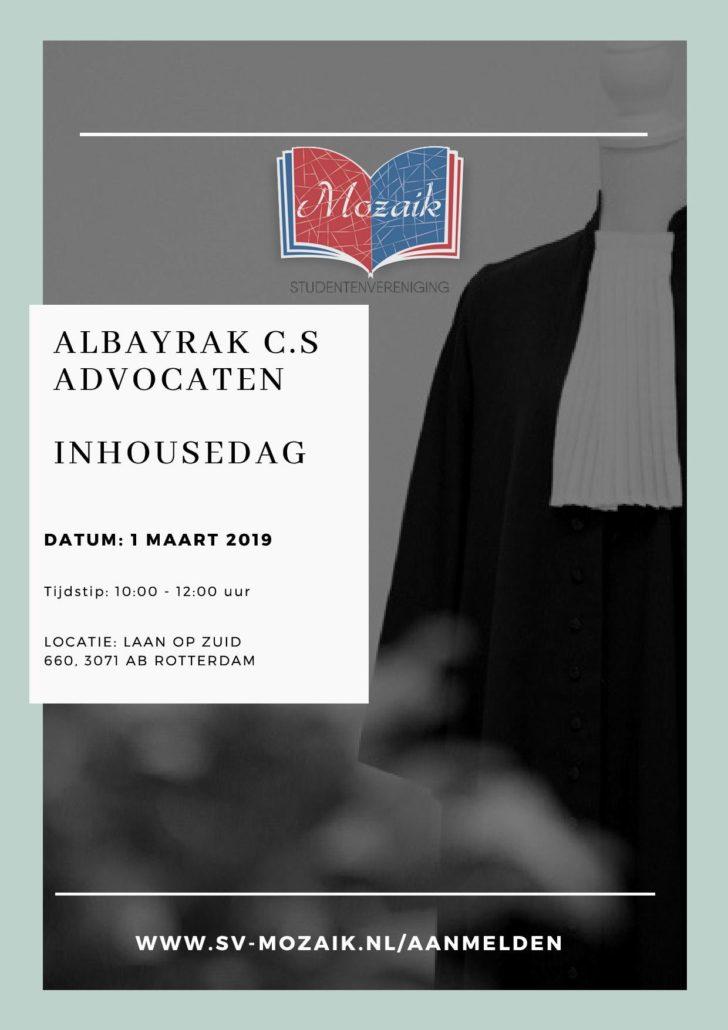 Flyer Albayrak Advocatuur inhousedag SV Mozaik