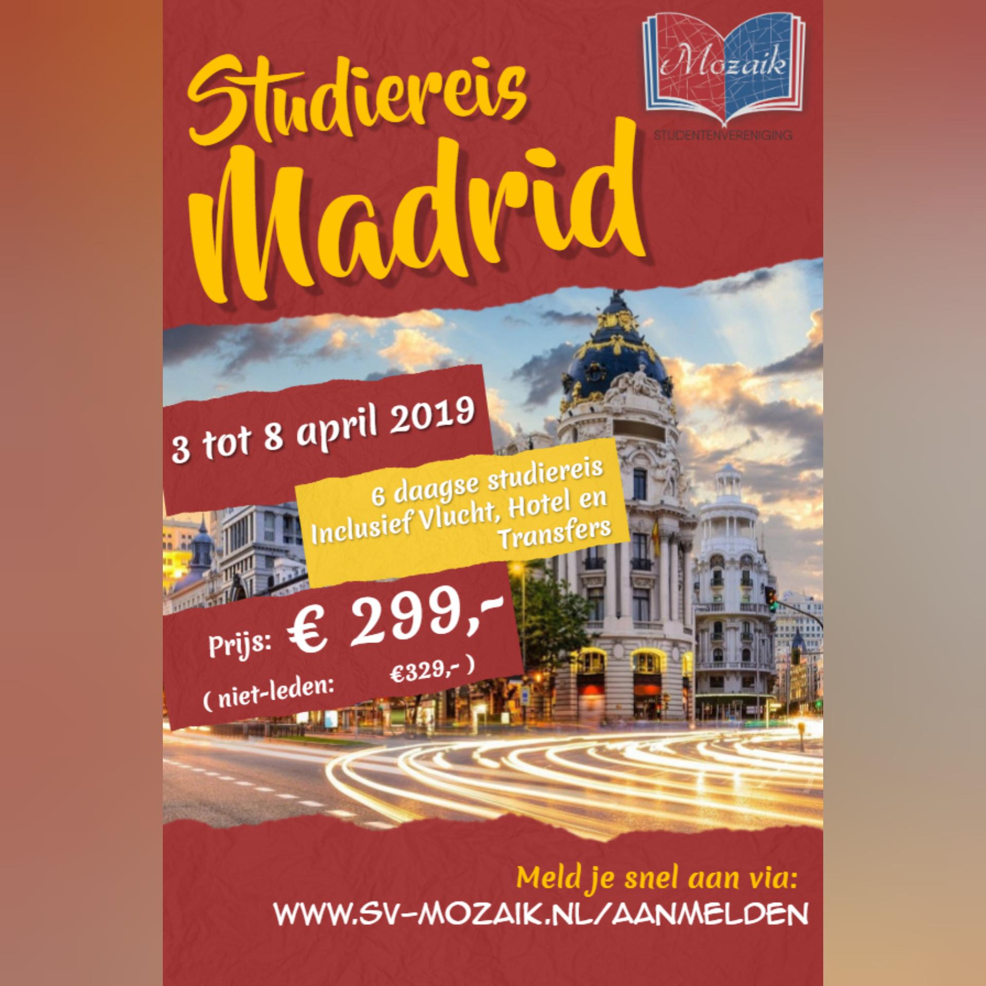 SV Mozaik Studiereis 2019 Madrid Spanje